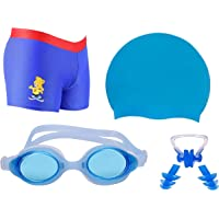 Wetex Boy Swimming Kit with 1 Swimming Shorts | Costume | Trunk Swimming 1 Anti Fog Swimming Goggles 1 Silicone Swimming Cap 1 Nose Clip 2 Ear Plugs (Light Blue)