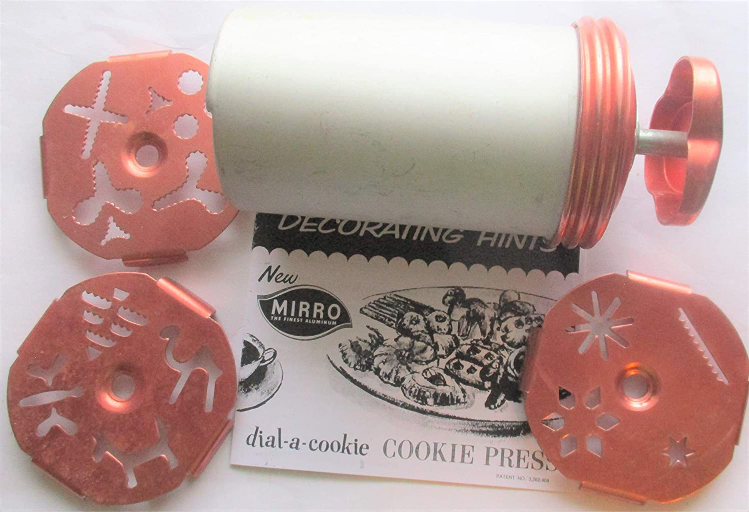 Vintage 1960s Mirro Aluminum and Copper Dial a Cookie Press for Spritz Cookies
