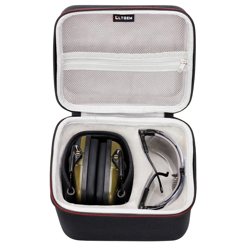 LTGEM - Funda rí gida de EVA para Honeywell Howard Leight 1013530 Impact Sport plegable para los oí dos, SNR 25 (verde) y gafas de seguridad para afilar