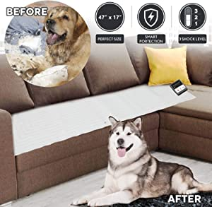 Pet Scat Cat Mat 47''x17'',1Pc Pet Training Shock Mat for Dogs,3 Shock Level,Safety Low Voltage Battery,Intelligent Safety Protect for Pets,Keep Dog Off Couch Sofa Furniture w/LED Indicator,Wide Cover