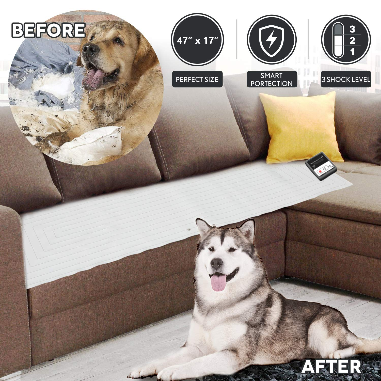 Pet Scat Cat Mat 47''x17'',1Pc Pet Training Shock Mat for Dogs,3 Shock Level,Safety Low Voltage Battery,Intelligent Safety Protect for Pets,Keep Dog Off Couch Sofa Furniture w/LED Indicator,Wide Cover by lesotc