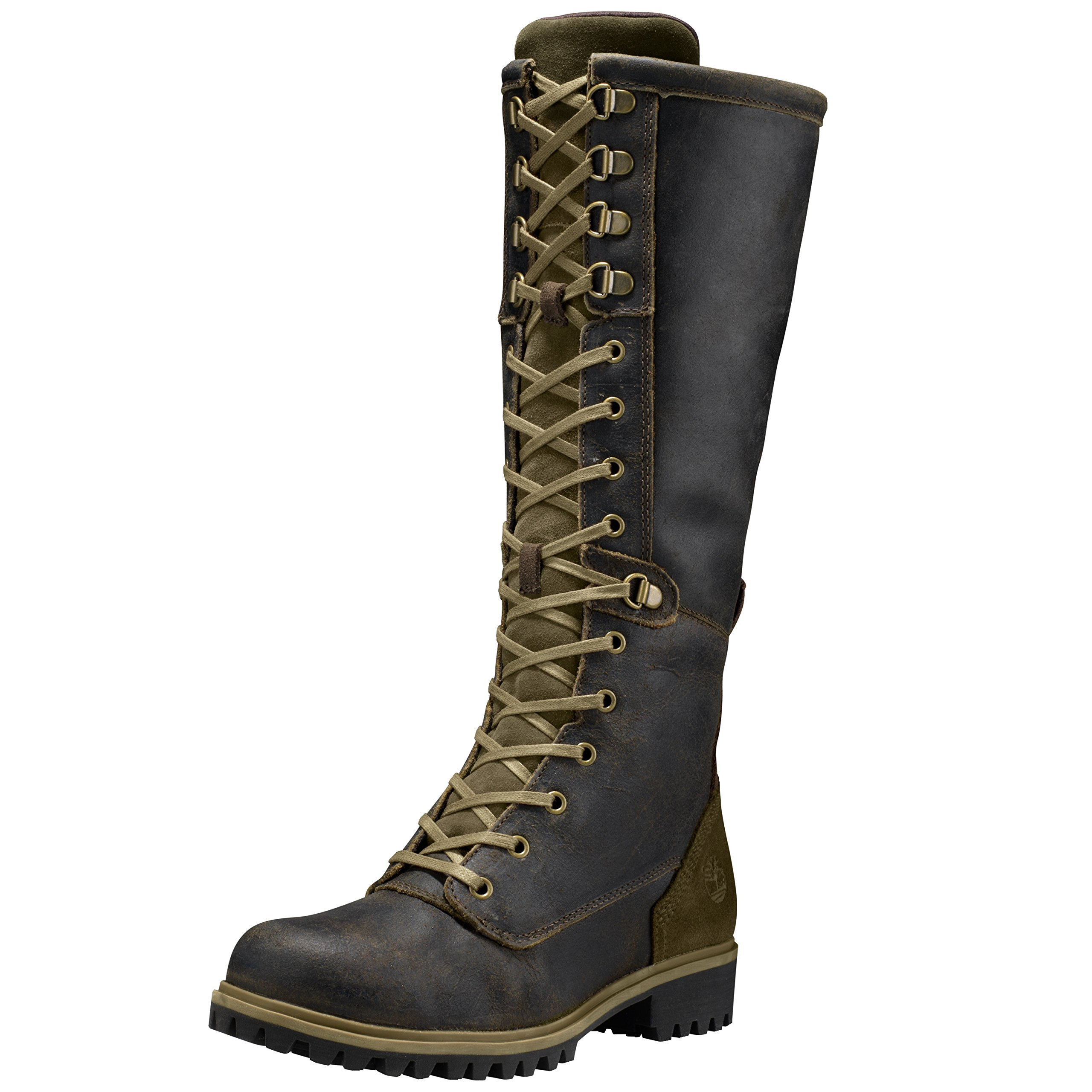 Timberland Women's Wheelwright Tall Lace Waterproof Boot 7.5 US M Dark Brown Suede