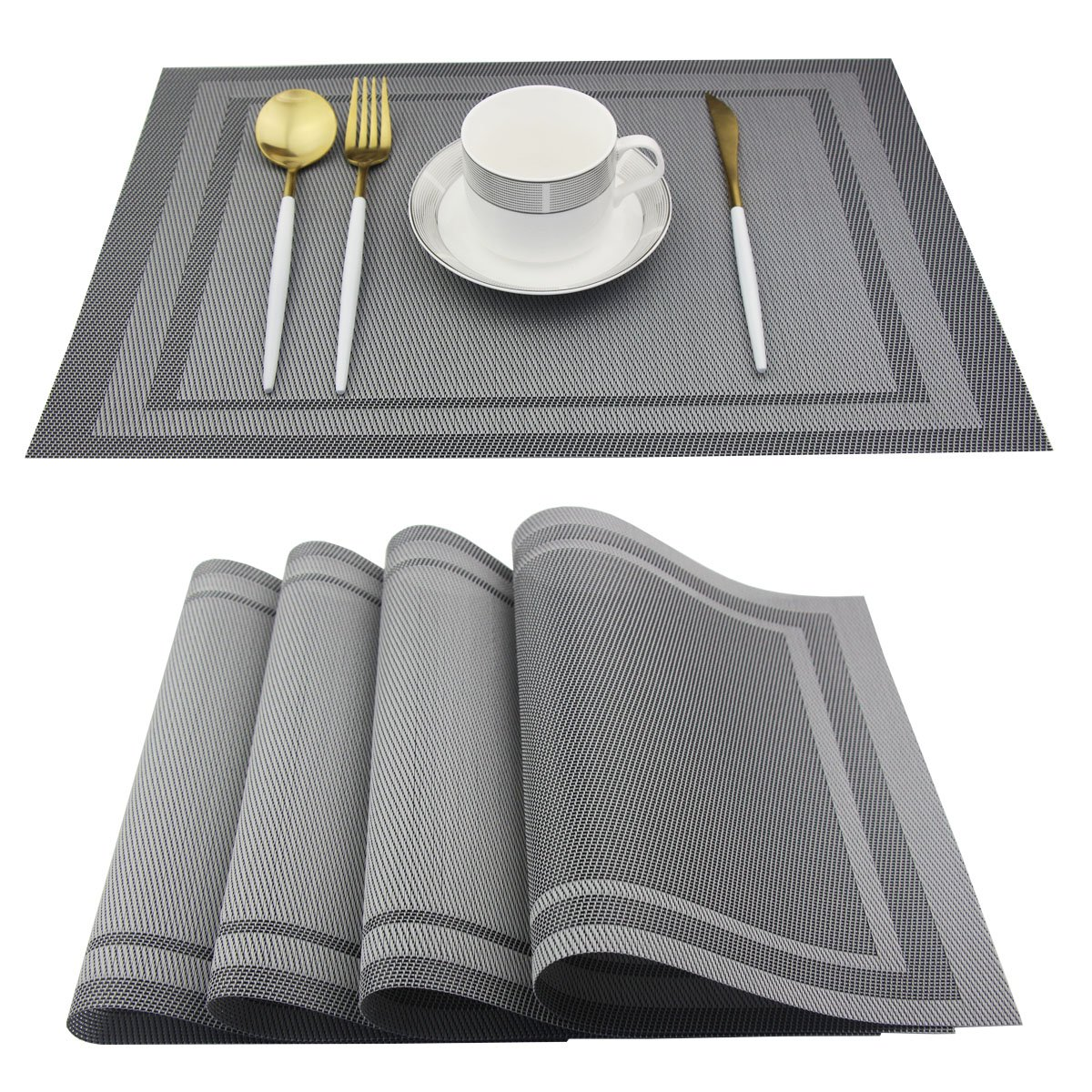 Bright Dream Placemats Easy to Clean Non-Slip Woven Plastic Placemats for Kitchen Placemat Washable Table Mats Set of 4 (Silver)