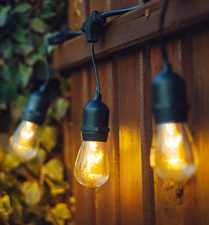 Elegant Hyperikon Outdoor String Lights, 48ft Patio Lights With 24 Dropped Sockets,  24 X 11W