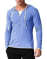 MODCHOK Men's Long Sleeve Hoodies V Neck Shirts Sports Hooded Sweatshirts Tops