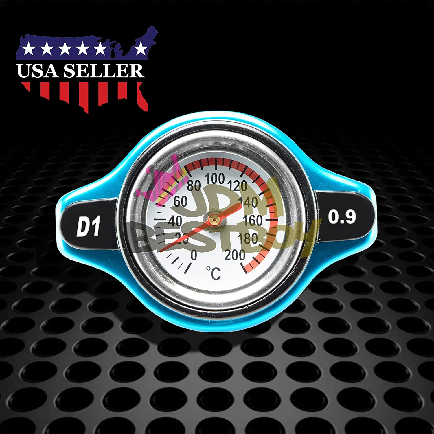 0.9 Bar Thermostatic Radiator Cap 13 PSI Pressure Rating with Temperature Gauge Aftermarket JDMBESTBOY