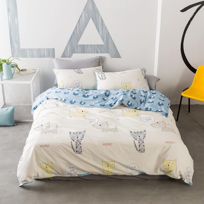 Beddinginn 100% Cotton Cat Print Bedding Girls Bed Sheet Twin Kids Cartoon 3 Piece Reversible Duvet Cover Set(Twin) 5961852-t