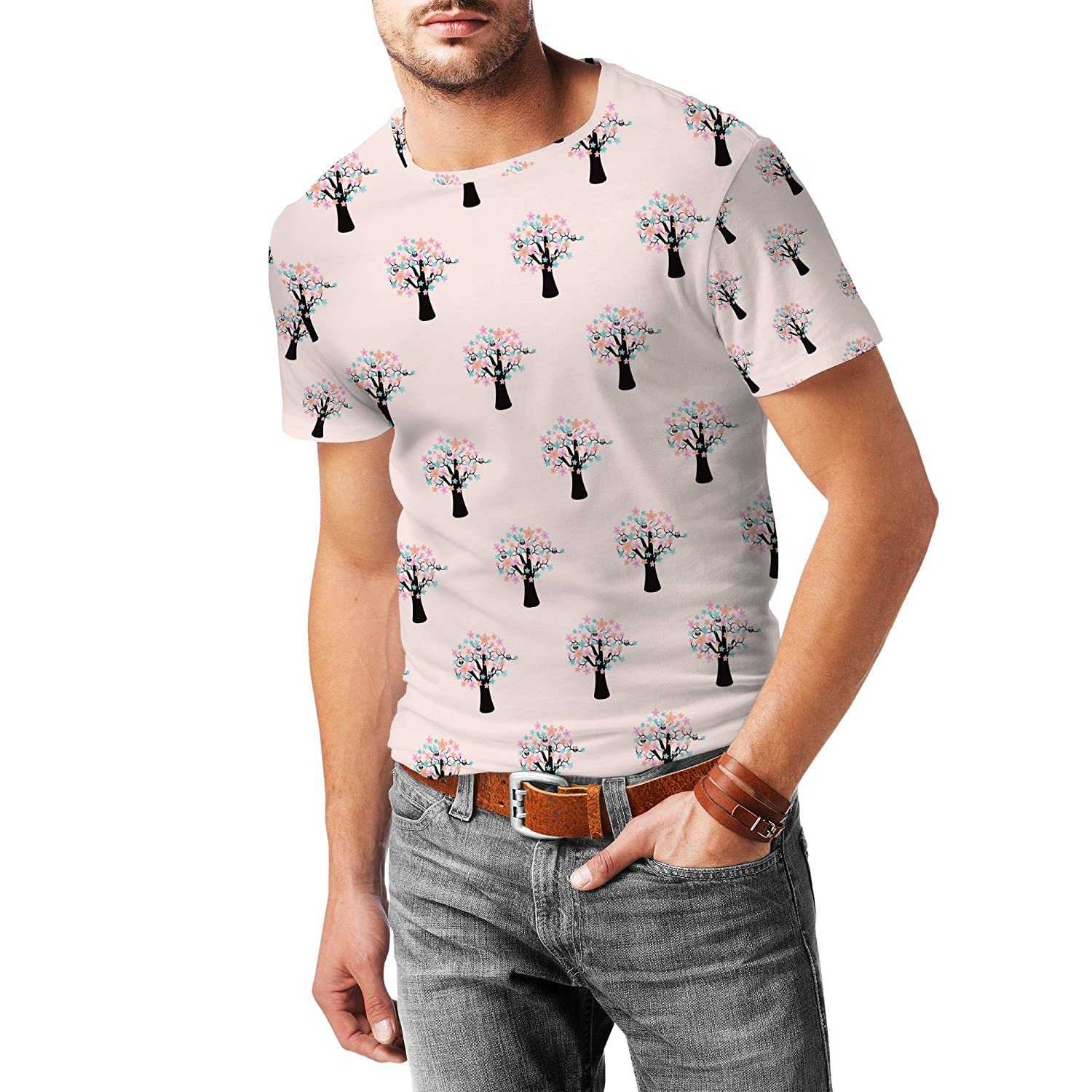 Owls in Blossom Trees Mens Sport Mesh T-Shirt