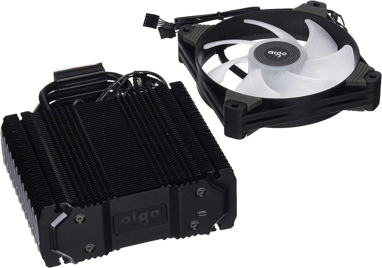 AIGO K4RGB Ventiladores de refrigeración CPU para l 'Host Computer 12cm la Unidad Central Bola Tranquillo Laptop portátil Acción Fan con El Soporte LED