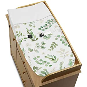 Sweet Jojo Designs Floral Leaf Girl Baby Nursery Changing Pad Cover - Green and White Boho Watercolor Botanical Woodland Tropical Garden