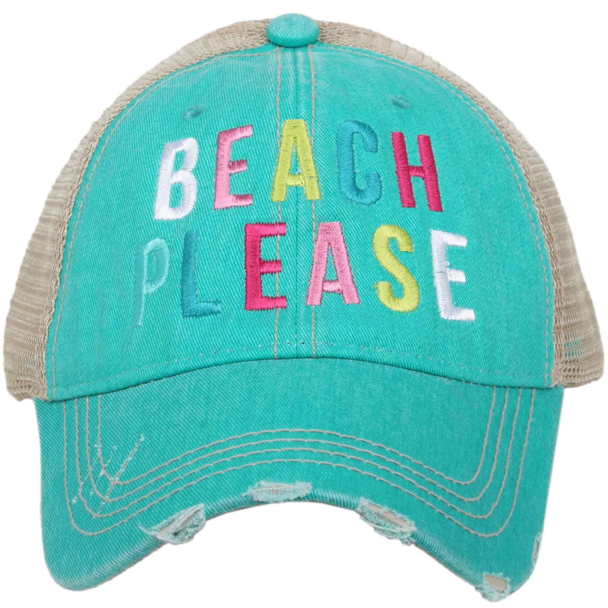Katydid Beach Please Women's Colorful Print Distressed Trucker Hat (Teal) by Katydid (Image #1)