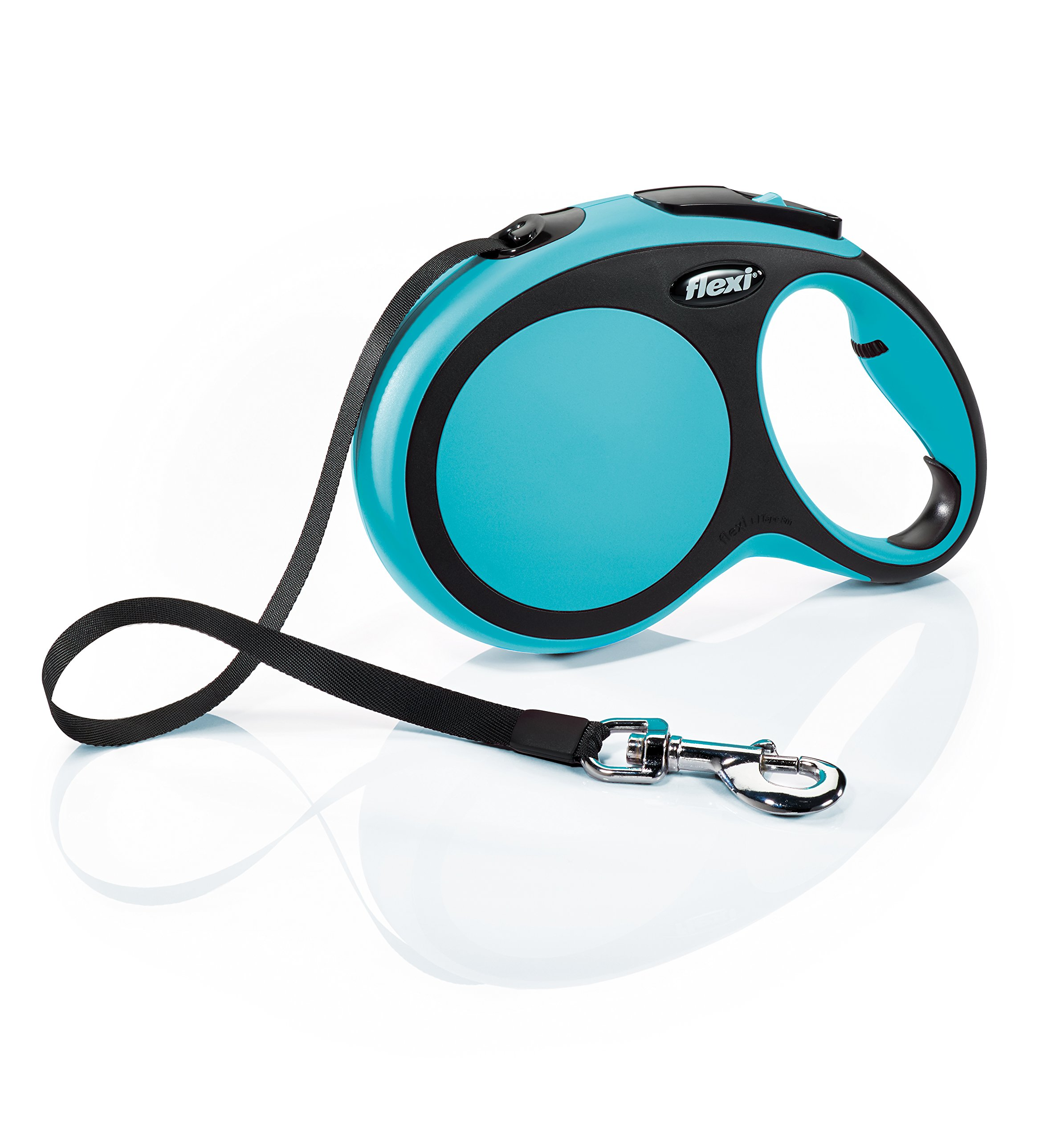 Flexi New Comfort Retractable Dog Leash (Tape), 26 ft, Large, Blue by Flexi