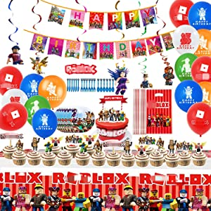 93Pcs Robot Party Supplies Set 10-guest Robot Theme Party -Birthday Decorations,Happy Birthday Banner,Spiral Ornaments,Plates,Knives,Spoons,Forks,Cake Toppers For Birthday Party Decoration