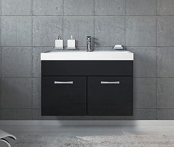 Badezimmer Badmöbel Set Paso 01 80 Cm Waschbecken Hochglanz Schwarz Fronten    Unterschrank Schrank Waschbecken Waschtisch