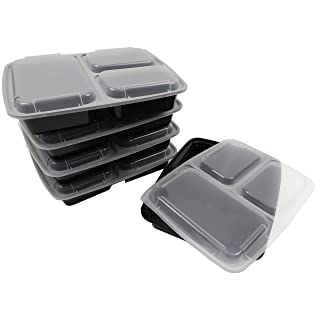 Table To Go 150-Pack Bento Lunch Boxes with Lids (3 Compartment/ 36 oz) | Microwaveable, Dishwasher & Freezer Safe Meal Prep Containers | Reusable Dish Set for Prepping, Portion Control & More (Black)