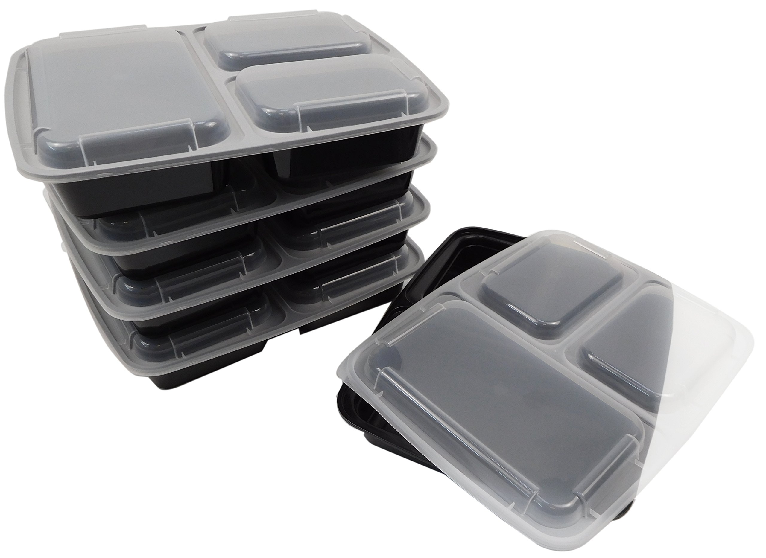 Table To Go 240-Pack Bento Lunch Boxes with Lids (3 Compartment/ 36 oz) | Microwaveable, Dishwasher & Freezer Safe Meal Prep Containers | Reusable Dish Set for Prepping, Portion Control & More (Black)