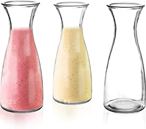 3-Piece Glass Carafe Set – 1 Liter Pitchers for Party – 10 Inch Tall Jugs– Water or Milk Bottles