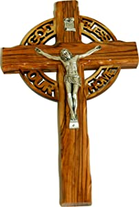 Celtic God Bless Our Home Holy Land Handmade Wall Olive Wood Catholic Crucifix - 10 Inches