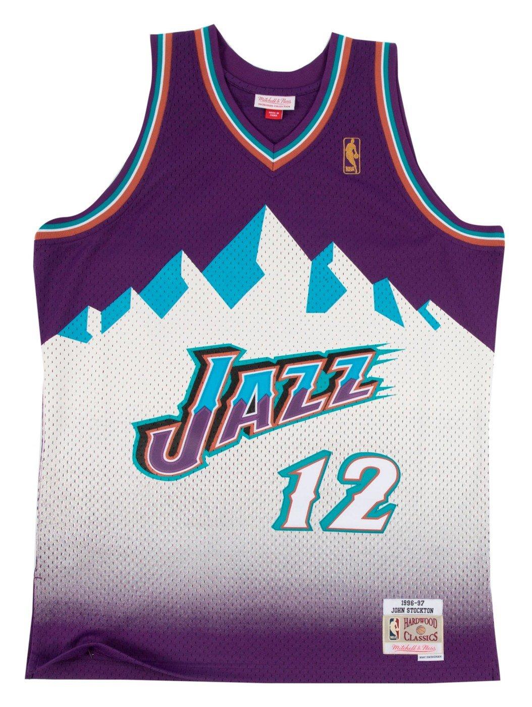 John Stockton Utah Jazz Mitchell and Ness Men's Purple Throwback Jesey 3X-Large