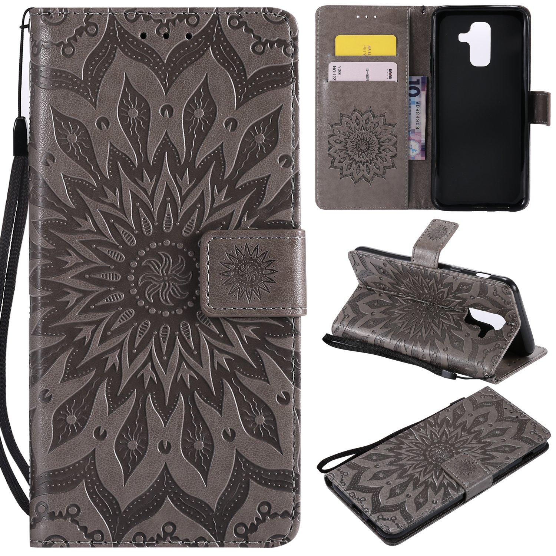 für Galaxy A6 Plus 2018 Hülle,Geprägte Muster Handy hülle/Tasche/Cover/Case für das Samsung Galaxy A6 Plus 2018 PU Leder Flip Cover Leder Hülle Standfunktion Kredit Kartenfächer (S) (1) Lohpe