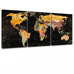 Decor MI Colorful World Map Wall Art on Canvas Black Deco Prints Paintings 3 Pieces Travel Map of The World Children Education Ready to Hang Map Decor Artwork for Home Living Room Decoration