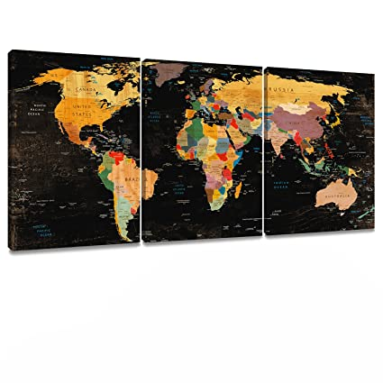 Decor MI Colorful World Map Wall Art On Canvas Black Deco Prints Paintings  3 Pieces Travel