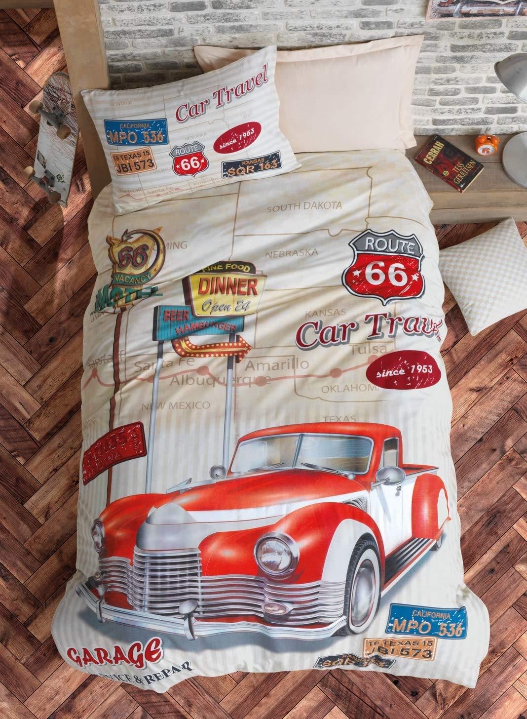 OZINCI Travel Route 100% Cotton Cars Bedding Set, Vintage Car Themed Single/Twin Size Duvet Cover Set, Beige, Boys Bed Set Kids Bedroom (3 Pieces)