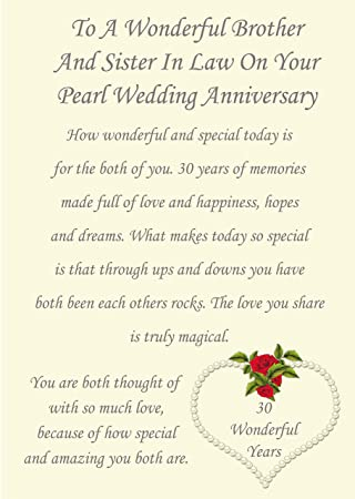 Brother Sister In Law Pearl Wedding Anniversary Card