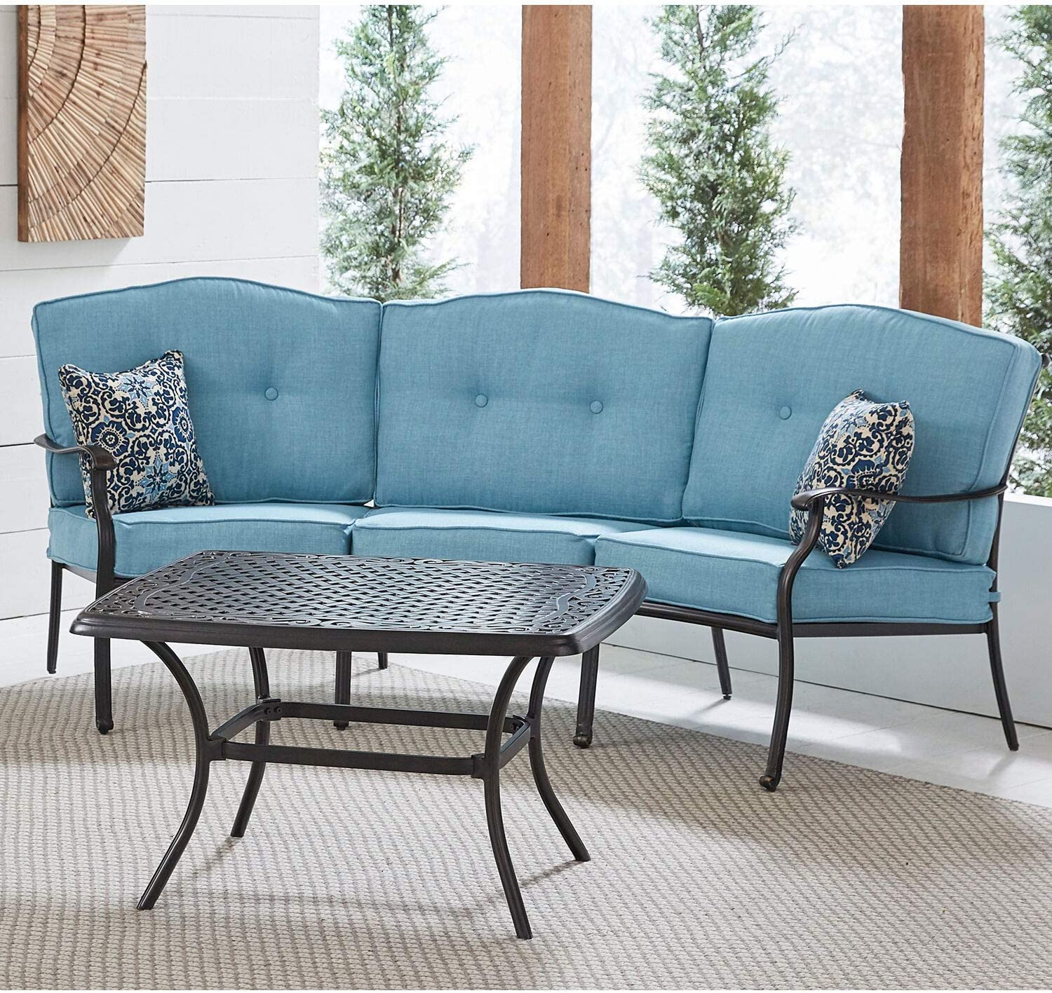Hanover Traditions 2-Piece Patio Set with Cast-Top Coffee Table and Crescent Sofa in Blue, TRAD2PCCT-BLU Outdoor Furniture