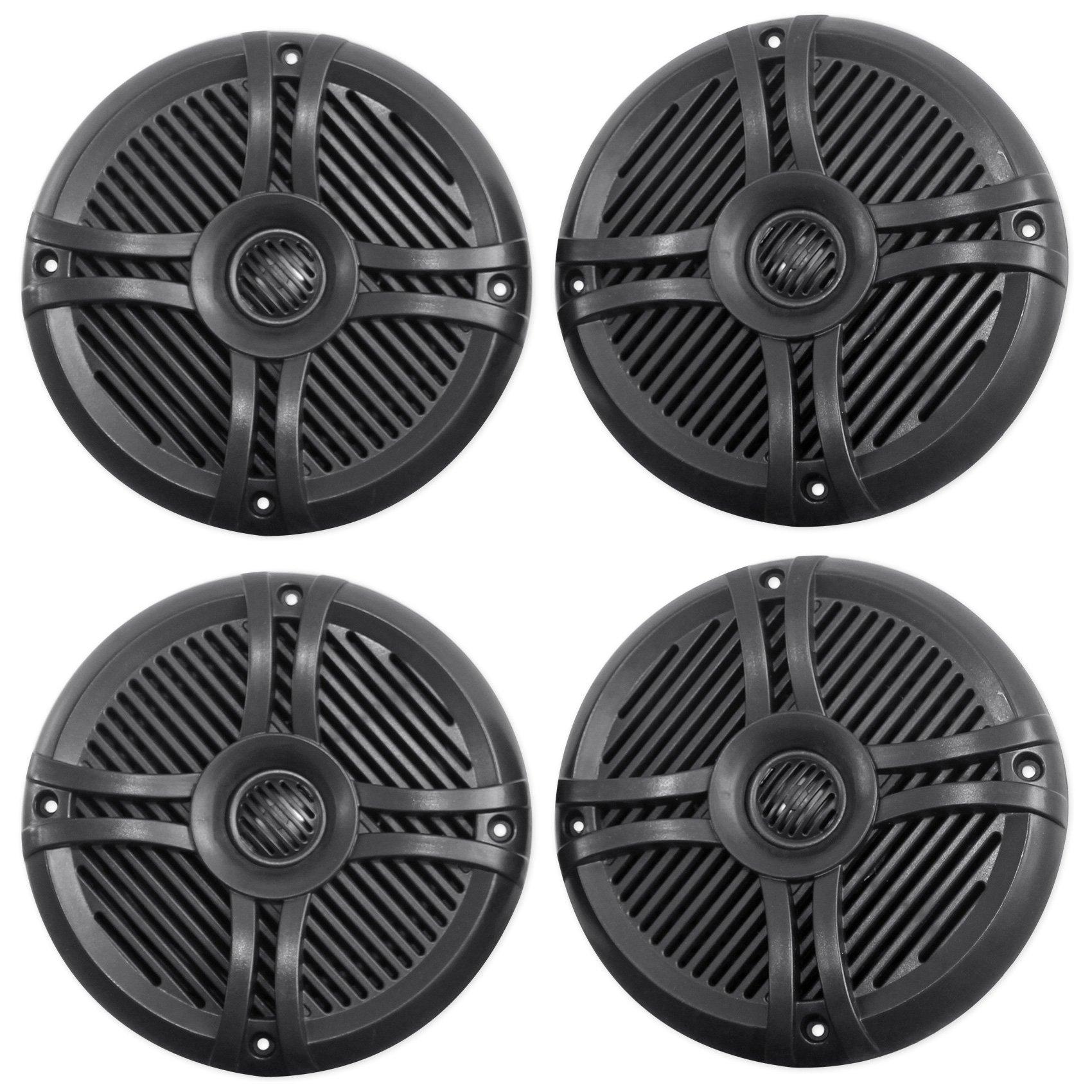 (4) Rockville RMSTS65B 6.5'' 1600w Waterproof Marine Boat Speakers 2-Way Black