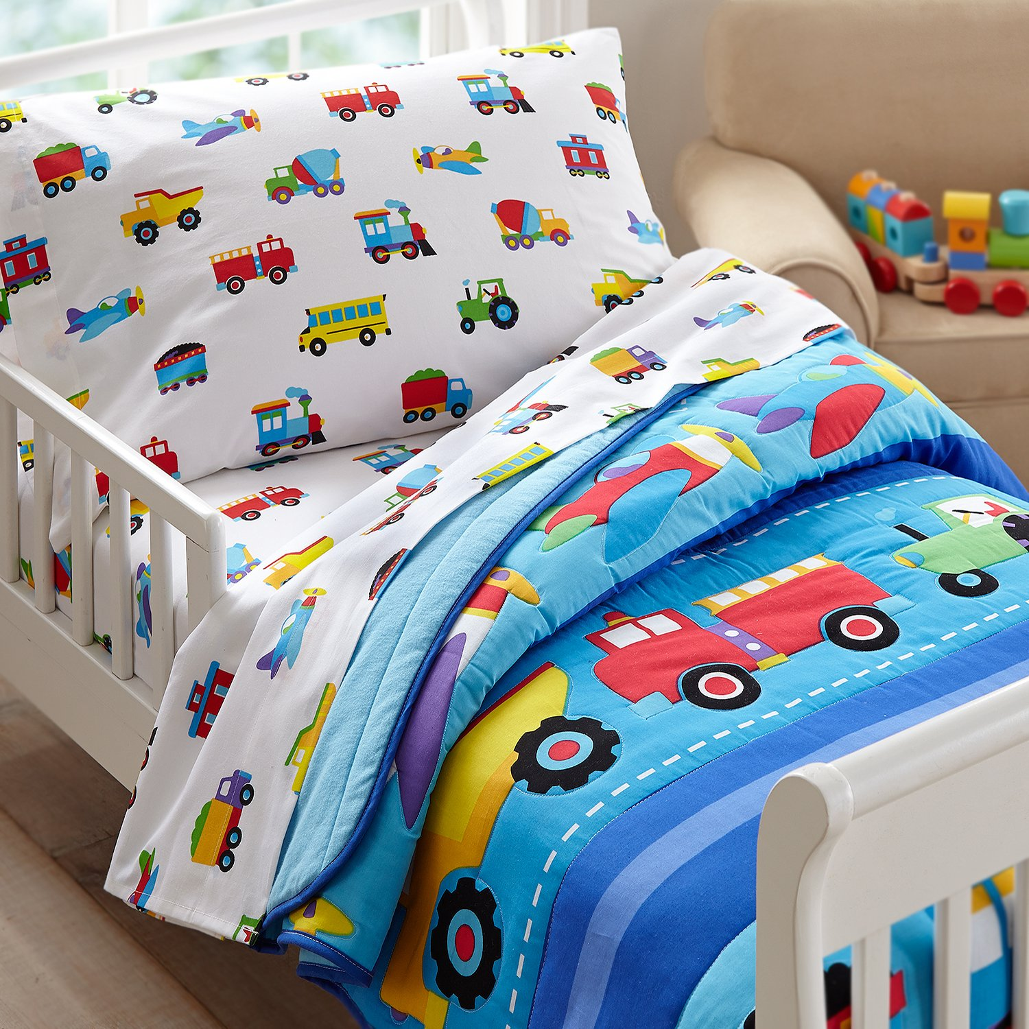 Cars And Trucks Toddler Bedding Set