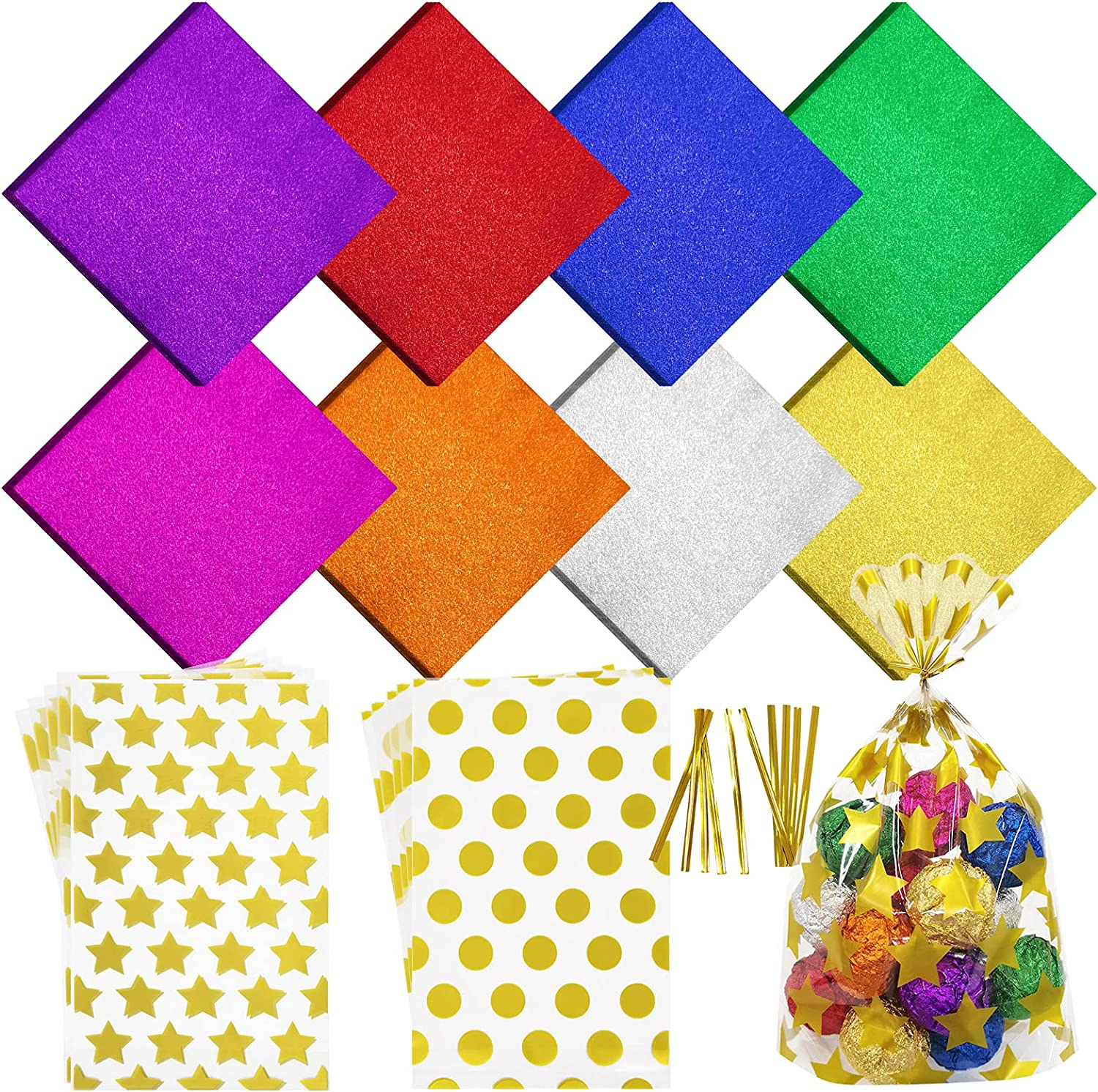 SNAIL GARDEN 800Pcs Candy Wrappers for Chocolates, 4x4 inch Food Grade Aluminum Foil Papers with 10Pcs Gold Candy Bags & 10Pcs Metallic Twist Ties, Colored Foil Sheets for DIY Homemade Candy, 8Colors