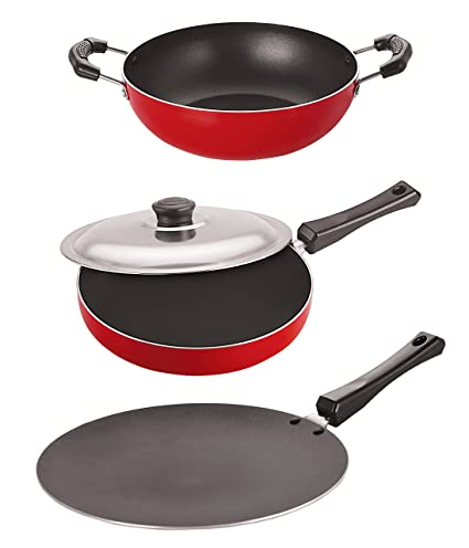 Nirlon Non-Stick Aluminium Cookware Set, 3-Pieces, Red (2.6mm_CT11_FP13_KD10)