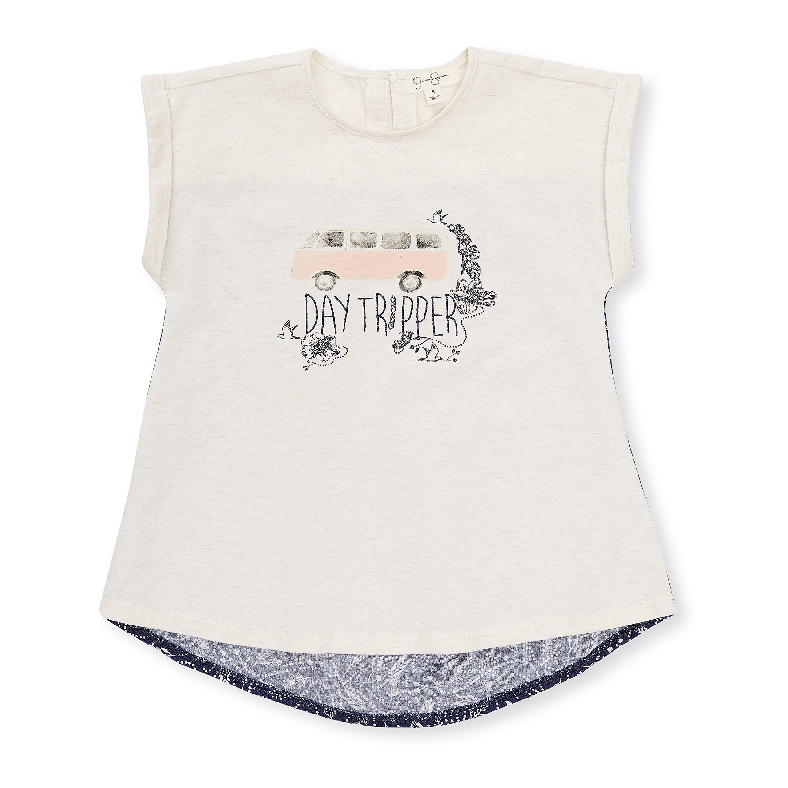 Jessica Simpson Girl's Sleeveless Crewneck High Low Keyhole Back Day Tripper Shirt Heather Oatmeal 6