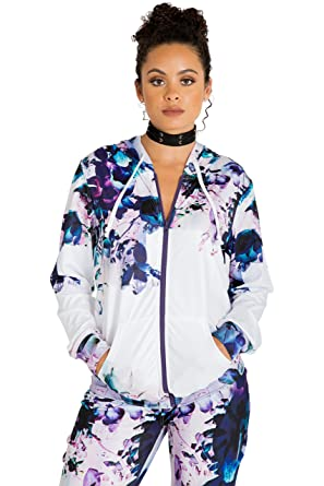 877a8872cbb Poetic Justice Curvy Women s Active Zip-Up Floral Print Poly Tricot Hoodie  Size S