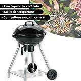 BARBECUE TONDO CHARCOAL DELUXE KOLGRILL 81X54X54 CM BBQ COLLECTION CON COPERCHIO FORI AREAZIONE E RUOTE. MWS