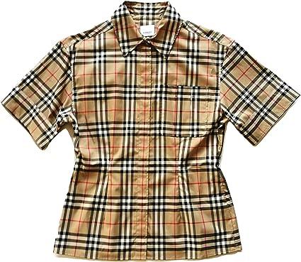 Burberry - Camisa de manga corta para mujer Eleanora 80258231 Archive Beige Check: Amazon.es: Ropa y accesorios