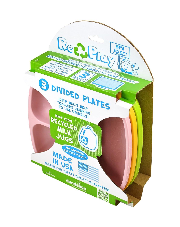 Re-Play Set de platos infantiles, 3 unidades, sin bisfenol A, sostenible debido al material reciclado, fabricado en Estados Unidos: Amazon.es: Hogar