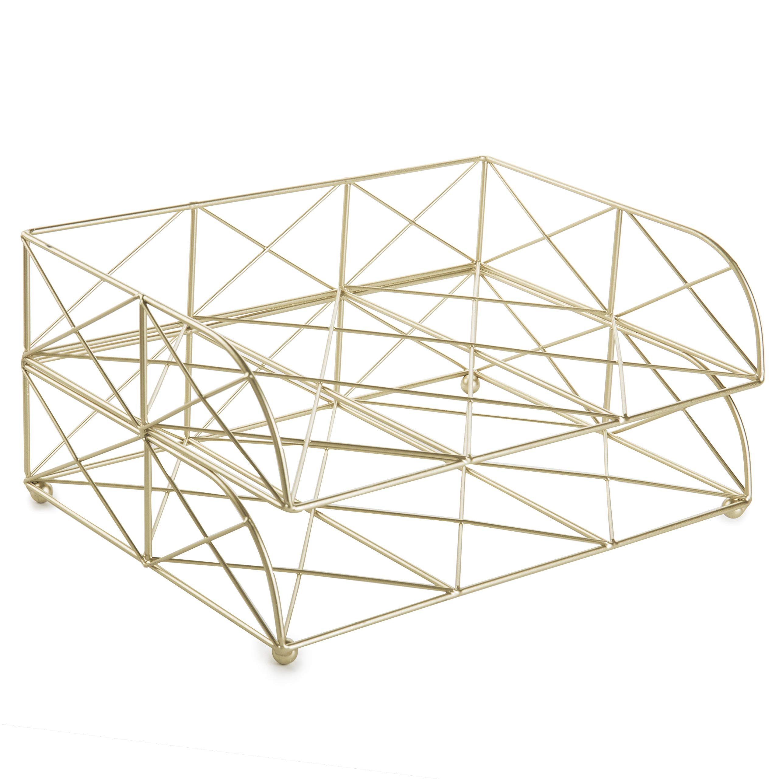 MyGift 2-Tier Geometric Light Gold-Tone Metal Desktop Stacked Letter Tray by MyGift (Image #5)