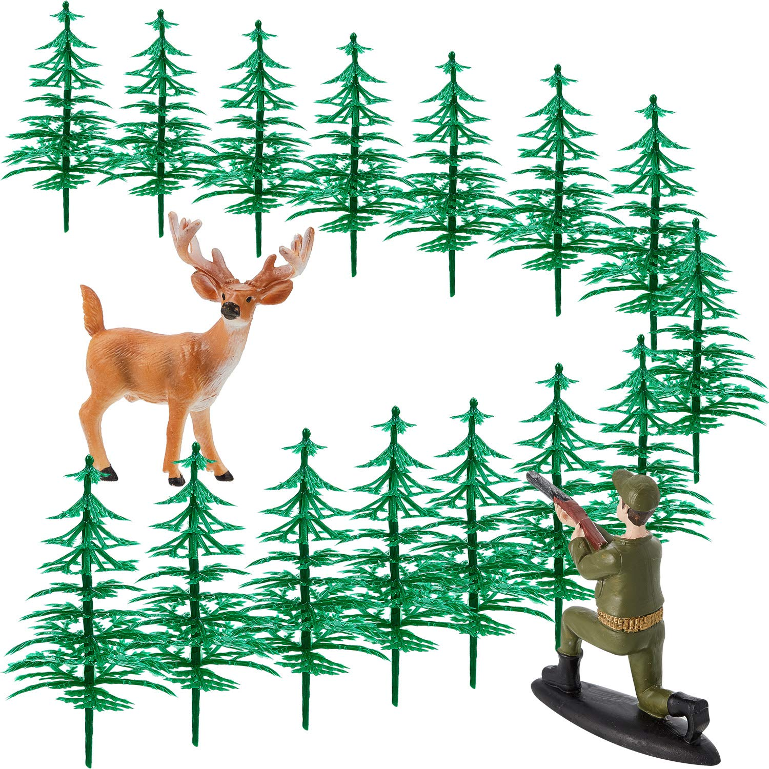 17 Pieces Deer Figurines Cake Topper Tree Cake Decorations Deer Hunting Theme Cake Topper for Birthday Hunting Party Supplies