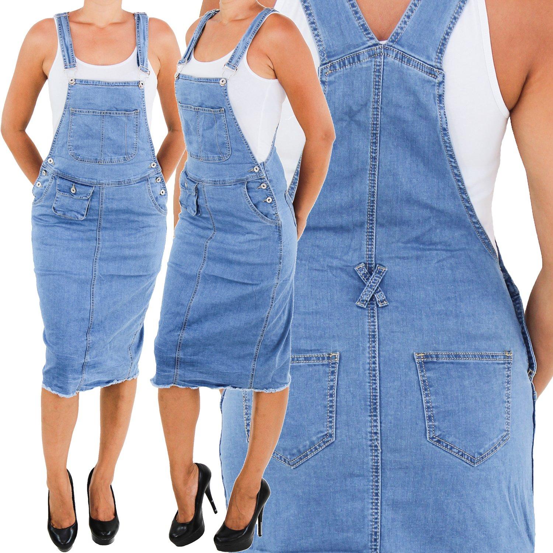 Damen Jeans Latzrock Jeansrock Midi Rock Jeanskleid Träger Latz Stretch Blau