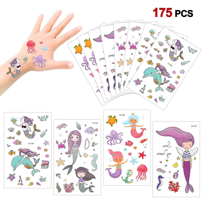 Konsait 175 Tatuajes temporales Sirena para niños niñas favores de Fiesta Infantiles cumpleaños Regalos piñata Juguetes de Fiesta Bolsas de Relleno ...