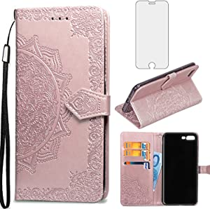 Asuwish Compatible with iPhone 7plus 8plus 7/8 Plus Wallet Case Tempered Glass Screen Protector Leather Flip Cover Card Holder Cell Phone Cases for i Phone7s 7s + 7+ 8s 8+ Phones8 Women Men Rosegold