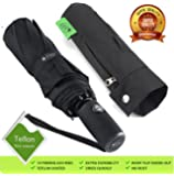 outdew automatic Compact Travel Umbrella Windproof - Unbreakable Double Canopy Construction by With Teflon Coating Auto Open Close Button umbrellas