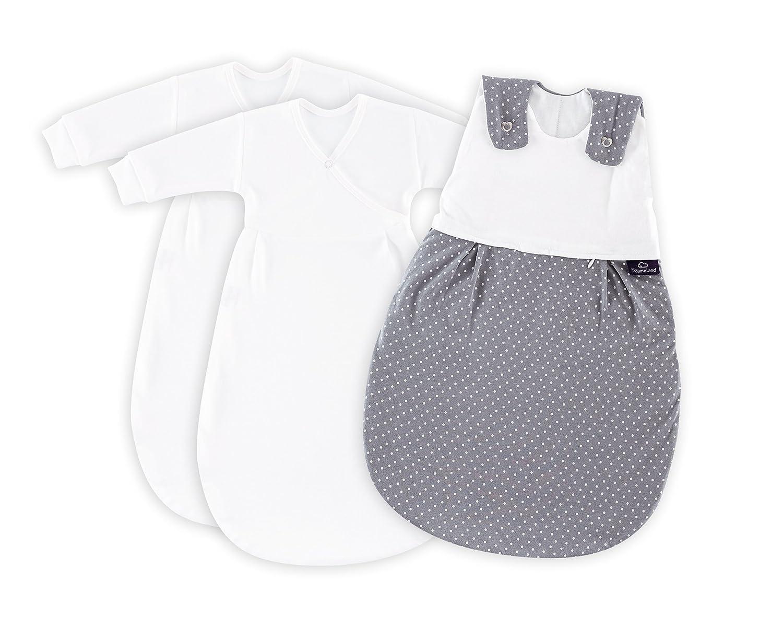 Träumeland S0100152 Babyschlafsack LIEBMICH 3 teilig Set Pünktchen grau, Größe 50 56, mehrfarbig