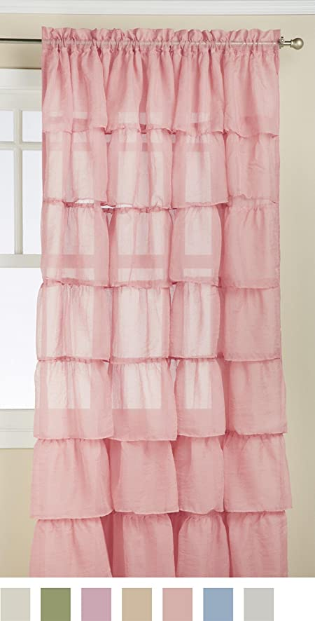 lorraine home fashions gypsy shabby chic layered ruffle window curtain panel 60 by 84