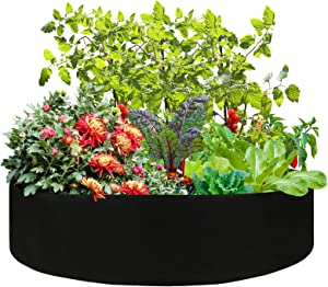 Firlar Fabric Raised Garden Bed, 100 Gallon Round Raised Bed Planter Grow Bag Garden Bed Bag for Plants, Herb, Flowers and Vegetables, Black (Dia 50 x H 12)