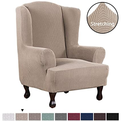 Remarkable H Versailtex Stretch Wing Chair Cover Jacquard Spandex Stretch Slipcovers For Wingback Chairs Slip Resistant Stylish Wingback Chair Cover 1 Piece Lamtechconsult Wood Chair Design Ideas Lamtechconsultcom