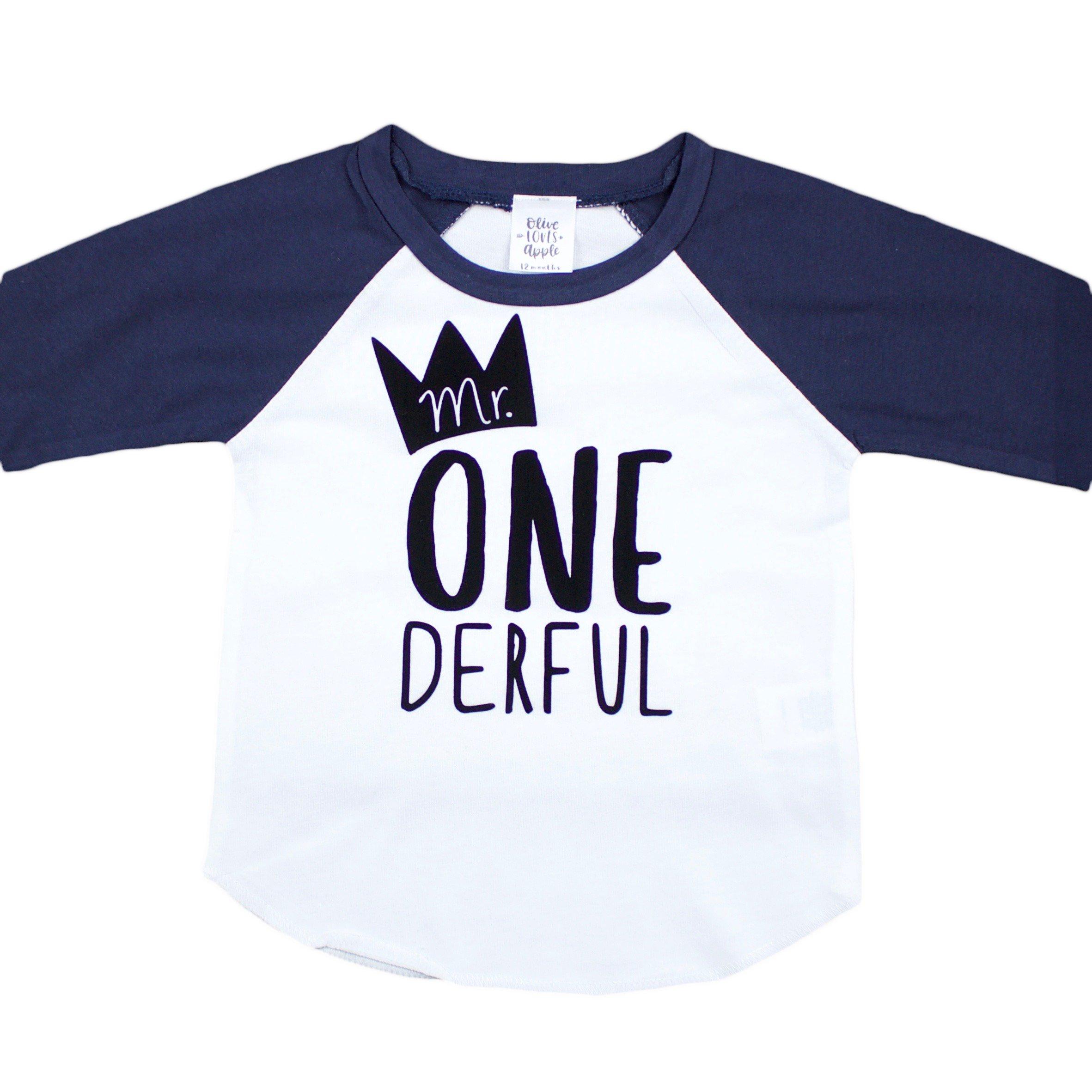 Mr One-Derful Baseball Tee Shirt for Boys 1st Birthday Shirt, Navy, 12 Months