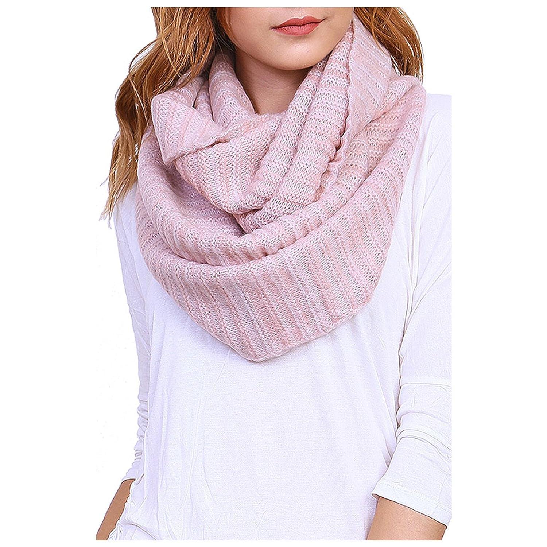 Women's Winter Warm Striped Knit Infinity Scarf - YS3681